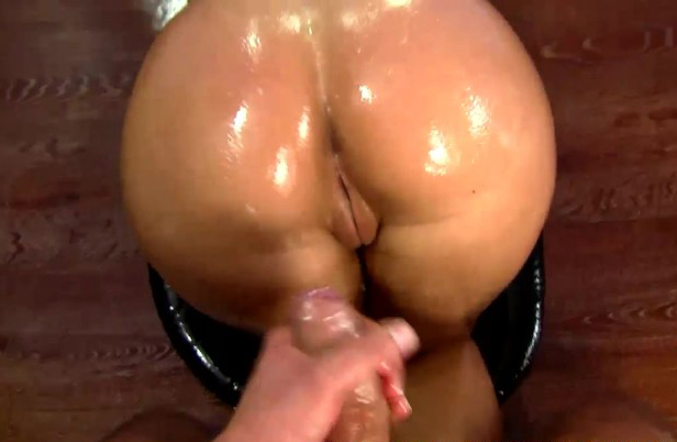 Oiled up tanned ass and big tattoo on back doggy style sex