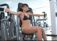 Cute Japanese girl Ai Shinozaki showing exercises