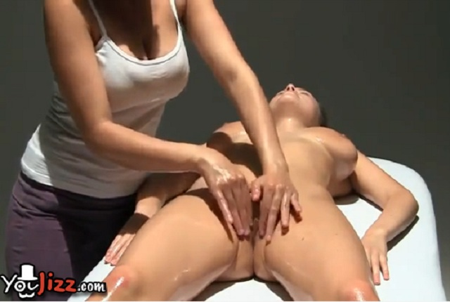 Busty Lesbian Brunette Oiled Up and Gets Massage Pussy