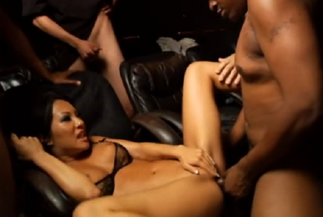 Beautiful Asian Girl Asa Akira in Interracial Gang Bang