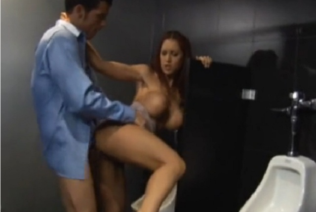 Busty Redhead Slut Kylee Strutt Fucks in the Toilet