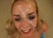 Hot Blonde Whore Gets a Huge Amount of Cum on Her Sweet Face