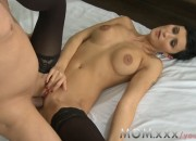 Busty Brunette With Short Hair Teases a Guy in Bed
