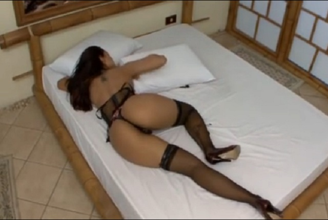 Hot Busty Brunette Brunette in Sexy Lingerie Has Fun in the Bed