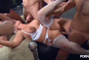 Dirty Busty Blonde Andi Anderson in a Big Gang Bang