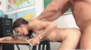 Schoolgirl Gets Punished in the Classroom