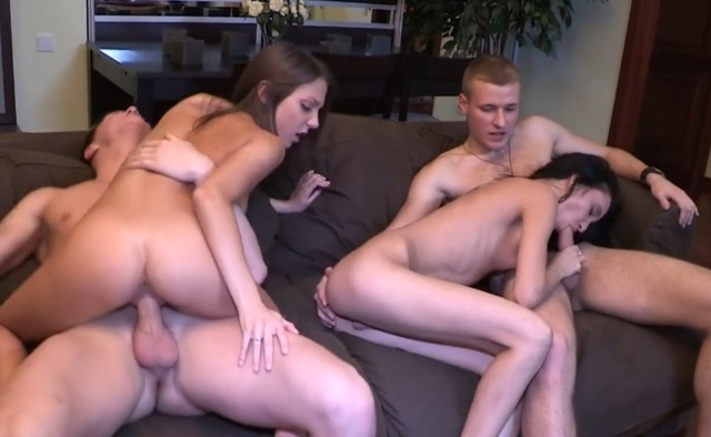 Young college hardcore fuck in group after great partie