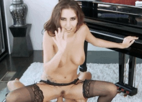 April O'Neil in Black Stockings Fucked Beside the Piano