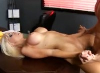 Blonde With Big Round Boobs Rikki Six Fucked in the Office