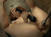 Fuck machine huge dildo splitting petite redhead anally