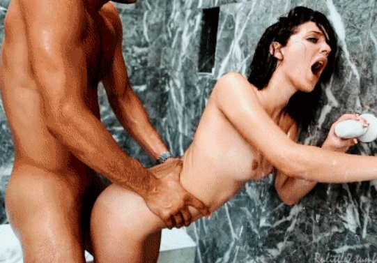 Sex under the shower with petite brunette Kiera Winters