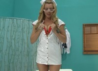 Teen nurse with glasses Lexi Belle becomes wild cowgirl