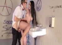 Nasty schoolgirl Katarina Jade fucked by nerdy Dany D in school toilet