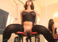 Chica's Place in black stockings with her machine