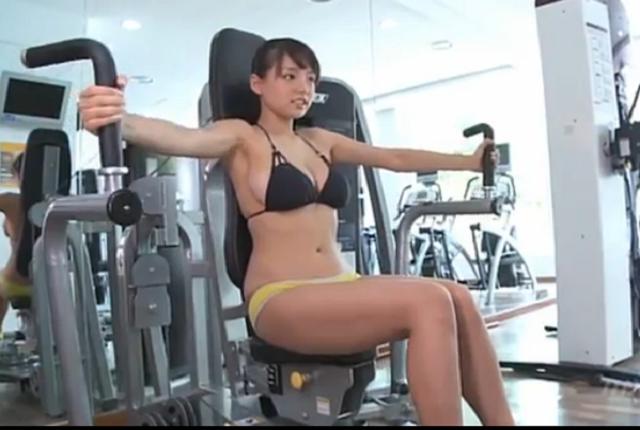 Cute Japanese girl Ai Shinozaki showing exercises