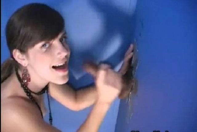 Bobbi Starr sucks black cock through the wall