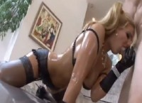 Busty blonde Phoenix Marie is oiled up and gets anal fuck