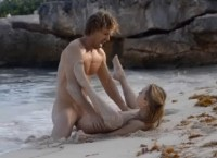 Damn pretty girl has sex with her boyfriend on the beach