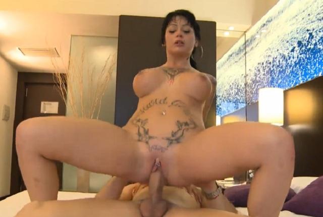 Busty tattooed brunette Jenny Hard gets a hard fucking – POV