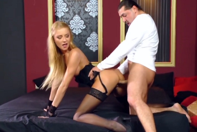 Nasty blonde Lily Love in sexy lingerie gets hard anal fuck