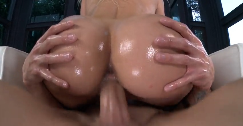 Blonde oiled up Bubbly Ass gets rough fucked