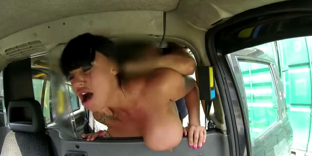 Amateur brunette fucked in fake taxi