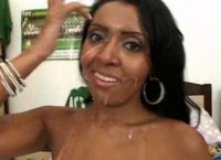 Joyce Oliveira facialized after anal cockriding