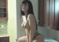Busty Xo Gisele solo girl show on kitchen counter