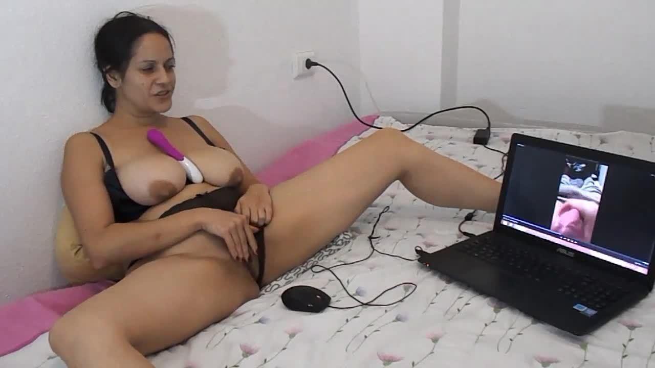 MILF watching a guy masturbate